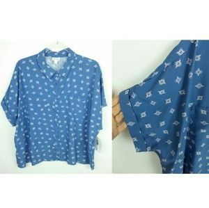 Lularoe Amy Blue Floral Shirt Short Sleeve Cuffed